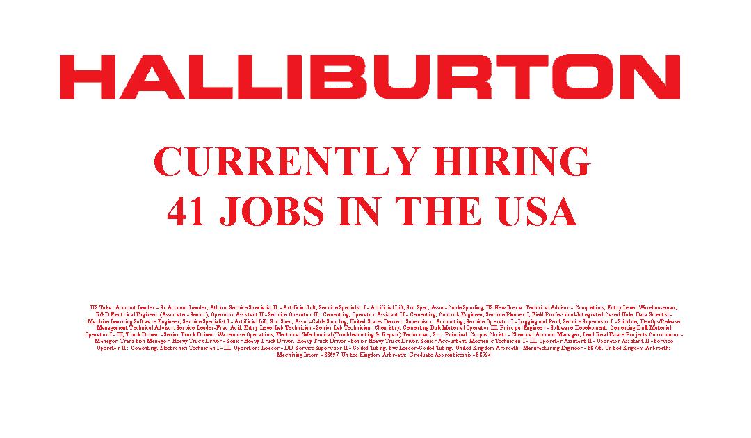 Halliburton is Hiring 41 Jobs in the USA