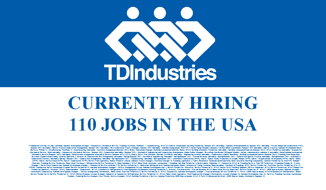 TDIndustries is Hiring 110 Jobs in the USA