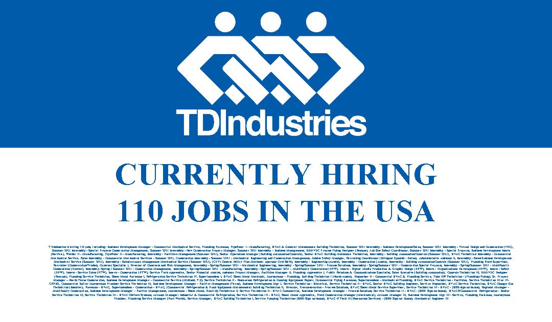 TDIndustries is Hiring 110 Jobs in the USA