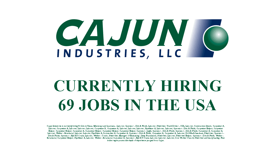 Cajun Industries is Currently Hiring 69 Jobs in the USA
